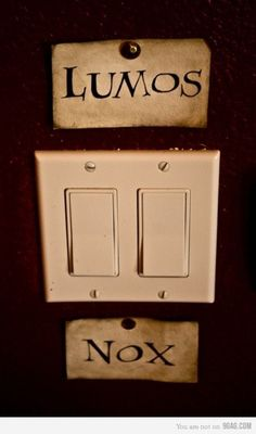Harry Potter light switch - Click image to find more hot Pinterest pins....Whole room labeled with root words?! Might be cool...