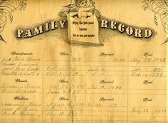 One of the important research sources are found in the family Bibles – the record pages of births-marriages and deaths. Here one or more family members over the years the Bible was held by the family made a written record of major family events