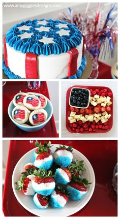 4th of July Cake, Candy and Fruit www.amygigglesdesigns.com
