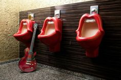 Rolling Stones urinal in Germany.The design team of Delphine Buhro and Michael Dreher created this homage to the Rolling Stones at Goldman Hotel in Frankfurt, Germany. Design Hotel, Rolling Stones, Moise, Co Working, Mick Jagger, Boutique Design, Washroom, Men's Bathroom, Bathroom Humor