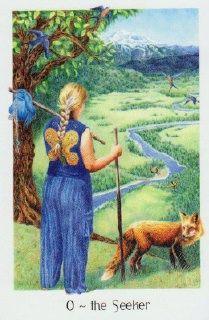 The Seeker in the Gaian Tarot - Deck by Joanna Powell Colbert,  © 2010 Self-Published Limited Edition  © 2011 Llewellyn Edition.  Click on the card image to see a review and comparison of the self-published edition versus Llewellyn published card set - and find out where you can get yours :)
