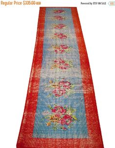 Sale Medallion Design Turkish Vintage Runner Rug 10'6'' x 2'11''  Free Shipping  #rug #carpet #vintage #handmade #etsy #anatolian #oushak #runner