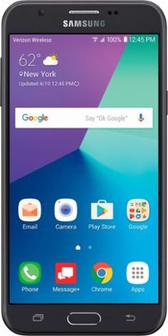 Verizon Prepaid - Samsung Galaxy J7 4G LTE with 16GB Memory Prepaid Cell Phone - Black - Front Zoom