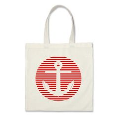 Nautical Tote Bag - Stripe Circle Anchor Tote Bag in Red