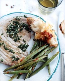 Tuna Steaks With Mint Sauce  You can use any firm-fleshed fish for this recipe. Scattering salt in the skillet prevents the fish from sticking without adding fat, and also seasons it. This dish is delicious at any temperature.