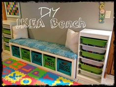 ikea shelving unit with bench cushion - milk crates from land of nod