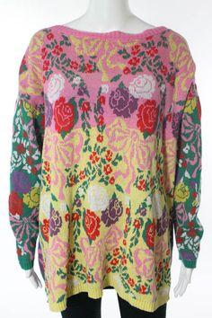 BETSEY JOHNSON Multi Color Floral Print Oversize Crew Neck Sweater Sz OS #BETSEYJOHNSON #Crewneck