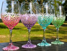 Ombre Dot Wine Glasses (Set of 4) --  Weddings, Bridal Showers, Bachelorette, Birthdays