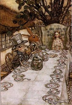 There was a table set out under a tree in front of the house, and the March Hare and the Hatter were having tea at it: a Dormouse was sitting between them, fast asleep, and the other two were using it as a cushion, resting their elbows on it, and the talking over its head. Very uncomfortable for the Dormouse, thought Alice; only, as it's asleep, I suppose it doesn't mind.