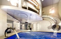 Slide from master dressing room to pool - should come standard in all homes! :D
