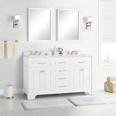 Melpark 60 in. W x 22 in. D Bath Vanity in White with Cultured Marble Vanity Top in White with White Sink Marble Vanity Tops, Bathroom Vanity Tops, Bath Vanities, Bathroom Fixtures, Basin Cabinet, Vanity Cabinet, White Vanity, White Sink, 60 Inch Vanity