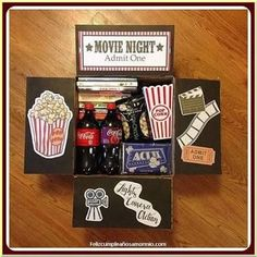 movie night box You are in the right place about DIY Gifts Here we offer you the most beautiful pictures about the DIY Gifts just because you are looking for. When you examine the movie night box part Diy Best Friend Gifts, Bf Gifts, Best Friend Presents, Homemade Gifts For Friends, Cute Gifts For Friends, Homemade Boyfriend Gifts, Couple Presents, Nice Gifts For Men, Diy Gifts In A Box