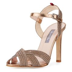 "Sheridan Shimmery Strappy Sandal by SJP by Sarah Jessica Parker. SJP by Sarah Jessica Parker shimmery fabric sandal. 4"" covered heel. Crisscross straps band open toe. Signature grosg..."