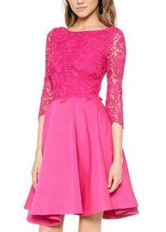 Sweet Rose Three Quarter Sleeve A Line Dress