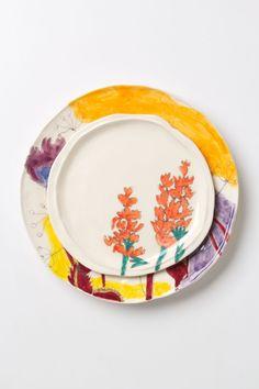 Palette-Sketch Red Flowers Dessert Plate - Anthropologie.com