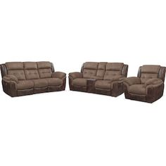 Tacoma Dual Power Reclining Sofa, Loveseat and Recliner Set - Brown