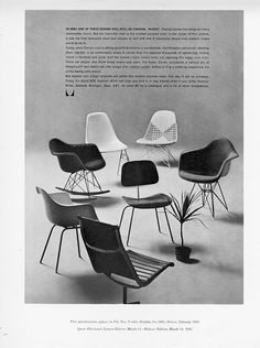"""""""In 2061 one of these chairs will still be famous. Which?"""" Some timeless #Eames designs in this 1961 Herman Miller advertisement first shown in the The New Yorker."""