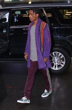 ASAP Rocky Goes Shopping With Kendall Jenner Wearing Needles Purple Shawl Coat and Pants | UpscaleHype