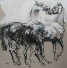 Jean-Louis Sauvat / What are the most essential lines to drawing a horse without to much?