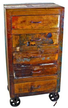 Wooden Chest with Wheels Industrial Furniture