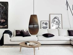 Pendant lighting is reminiscent of a boxing bag