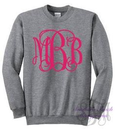 Monogrammed Crewneck Sweatshirt with Large Monogram. Perfect for Fall/Winter!