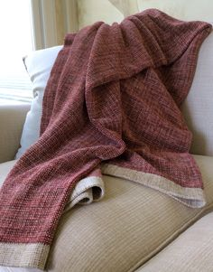 Hand Woven Sofa Throw Small Rayon Chenille Throw Blanket in Red & Neutrals (450.00 USD) by FitchStudioWeavers