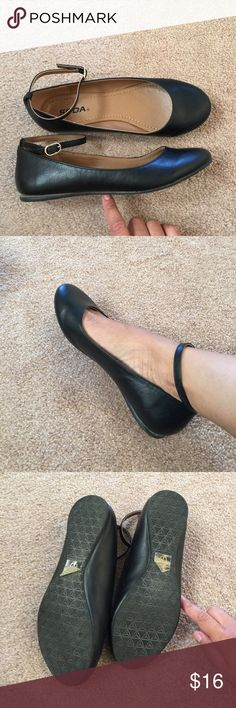 Soda matte black ankle strap ballet flats 6.5 - 7 Worn only once! Comes in org box. Were a little too small for me at the toe. Runs a little small. May fit 6.5 better. NO TRADES!! I also have a 7-7.5 available. Soda Shoes Flats & Loafers