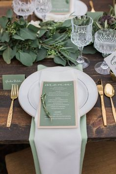 15 gorgeous Pantone wedding ideas that will bring all the greenery. Gold and green wedding table setting decor. 15 gorgeous Pantone wedding ideas that will bring all the greenery. Gold and green wedding table setting decor. Sage Green Wedding, Olive Wedding, Wedding Ideas Green, Olive Green Weddings, Emerald Green Weddings, Fall Wedding Colors, Wedding Table Settings, Rustic Table Settings, Wedding Table Cards