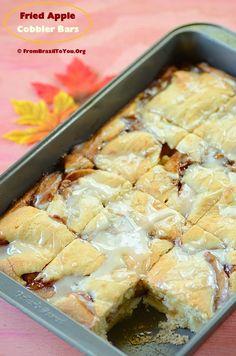 Glazed Fried #Apple Cobbler Bars recipe