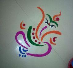 Terrific Easy Ganesh Rangoli Designs The post Easy Ganesh Rangoli Designs… appeared first on Home Decor . Easy Rangoli Designs Diwali, Rangoli Simple, Rangoli Designs Latest, Simple Rangoli Designs Images, Rangoli Designs Flower, Free Hand Rangoli Design, Rangoli Patterns, Small Rangoli Design, Rangoli Border Designs