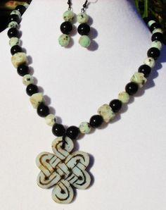 Carved jade sesame jasper black Oriental OOAK by ElmsRealm on Etsy, $30.00