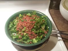 Spinach with Bacon Bits and Green Onions