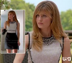 Website that shows you where to buy outfits you see on TV shows!   Paige's white lace dress with black contrast trim and skirt on Royal Pains