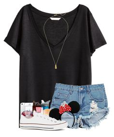"""&&; disney style"" by strawberry-styles ❤ liked on Polyvore featuring H&M, Boohoo, CamelBak, Kendra Scott, Pandora, Too Faced Cosmetics, Maybelline, Converse and Estella Bartlett"
