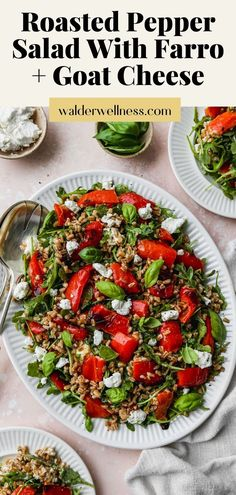 This easy roasted pepper salad recipe is made with farro, goat cheese, arugula, basil, and a simple white wine + lemon vinaigrette dressing. It can be enjoyed warm or cold, and served as either an entree style salad or as a side dish. Lemon Vinaigrette Dressing, Roasted Peppers, Arugula, Goat Cheese, Green Beans, Entrees, Goats, Side Dishes