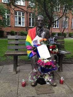 The Alan Turing memorial in Manchester on Pride day <3