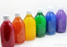 Glitter jars in rainbow colors