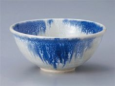 LANSETSU-BLUE-SNOW Jiki Japanese Porcelain Set of 5 Rice-Bowls for UDON,SOBA,TERIYAKI-BOWL made in JAPAN Watou.asia