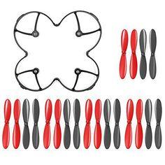 GoolRC batterie: Propeller pour: Hubsan X4 H107; Couleur: Noir et Rouge Hélices couverture de protection pour: Hubsan X4 H107C H107D…