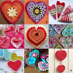 Nine patterns for crochet hearts