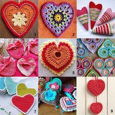 varios modelos crochet corações decorar