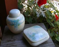 gorgeous handpainted Forget Me Not Boudoir by OurVintageHouse, $40.00