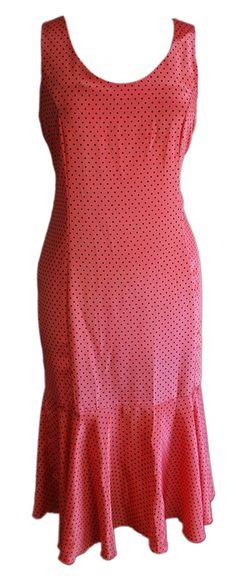 1980s Vintage Flapper Style Pink Polka Dot Dress Size 14