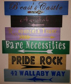 Disney Direction Wood Sign by JewellDecorShop on Etsy