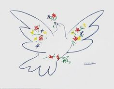 Picasso Pablo; Dove with Flowers - Colombe avec Fleurs