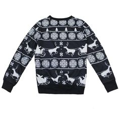 Women Christmas Elk Snowflake Long Sleeve Pullover Sweatshirt Blouse Clothes