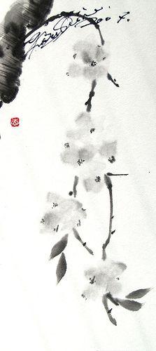 sumi-e... Blooms #watercolor
