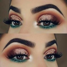 teal blue green under eye makeup lower lid orange red halo sparkly glitter eyeshadow look