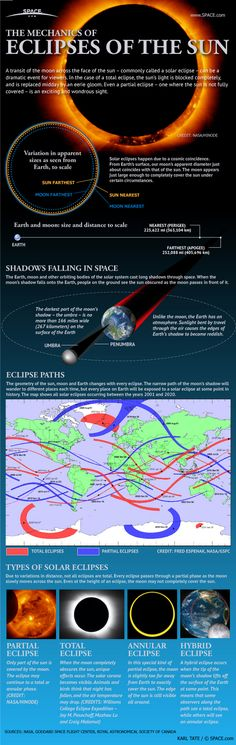 "Solar Eclipses: An Observer's Guide (Infographic) - When the moon covers up the sun, skywatchers delight in the opportunity to see a rare spectacle. Mona Evans, ""Solar Eclipses"" http://www.bellaonline.com/articles/art28395.asp"